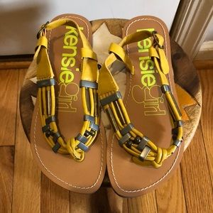 Kensie girl yellow leather sandals